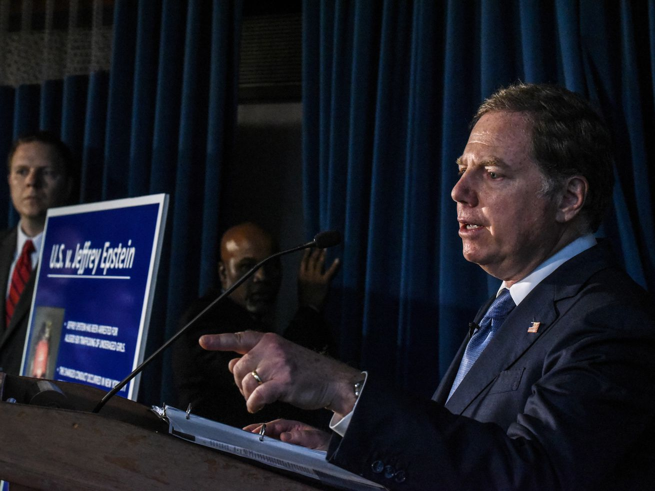US Attorney for the Southern District of New York Geoffrey Berman announces charges against financier Jeffery Epstein on July 8, 2019, in New York City.