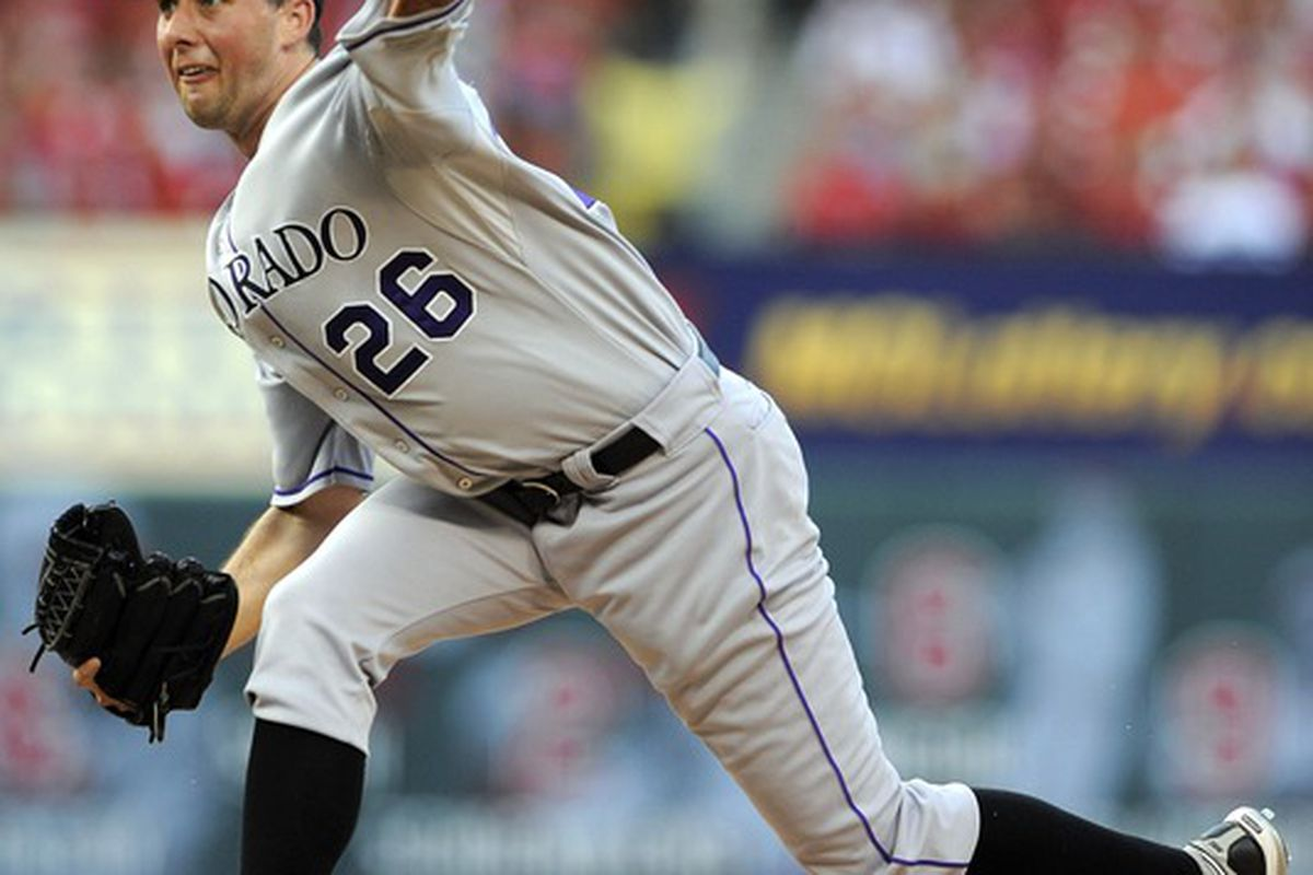 July 3, 2012; St. Louis, MO. USA; Colorado Rockies starting pitcher Jeff Francis (26) in action against the St. Louis Cardinals at Busch Stadium. Mandatory Credit: Jeff Curry-US PRESSWIRE