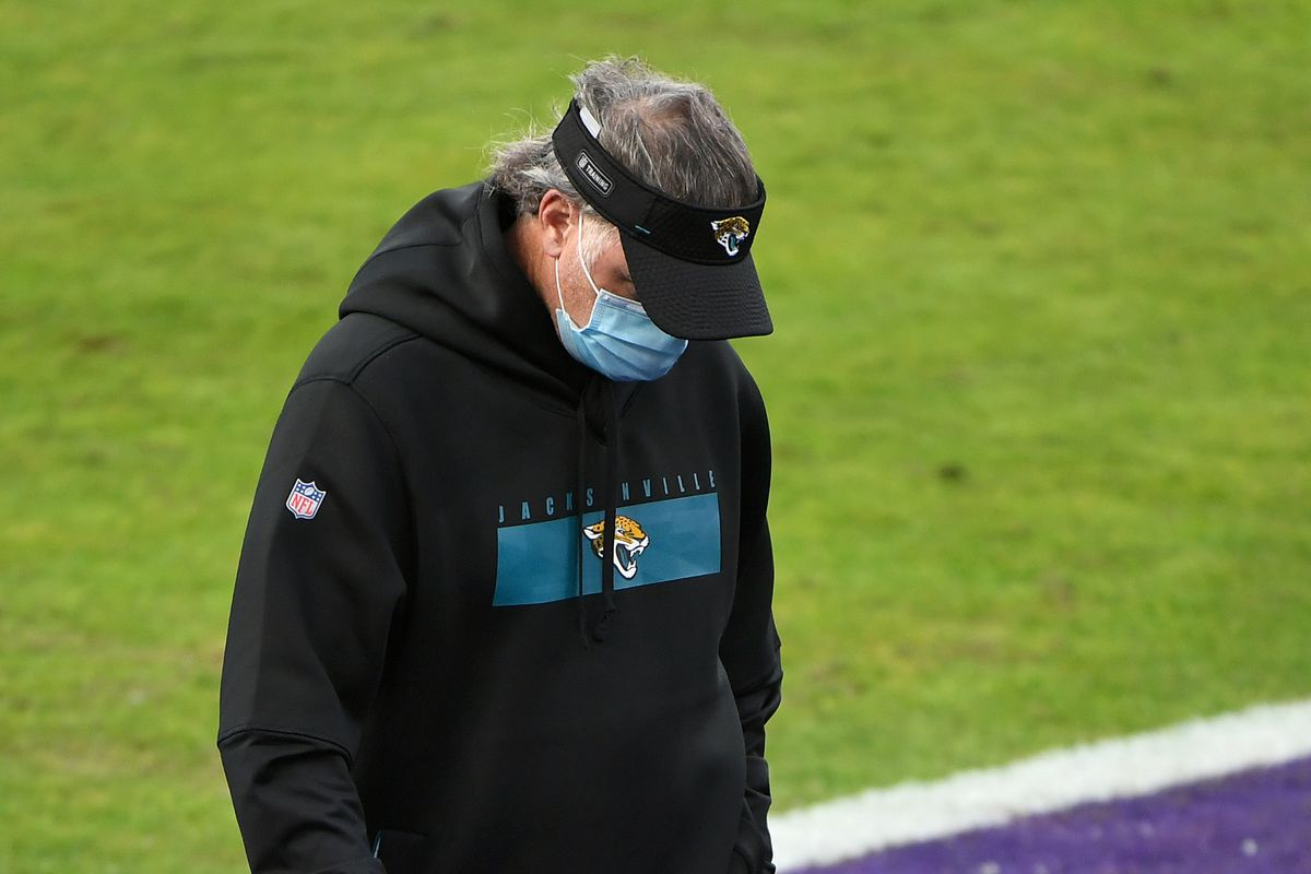 Head coach Doug Marrone of the Jacksonville Jaguars reacts during the second half of their game against the Baltimore Ravens at M&T Bank Stadium on December 20, 2020 in Baltimore, Maryland.