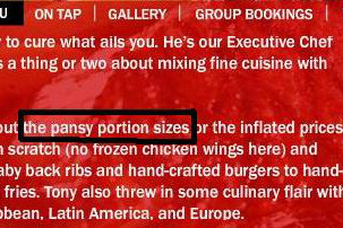 Tony Glitz won't countenance any pansiness at his restaurant.