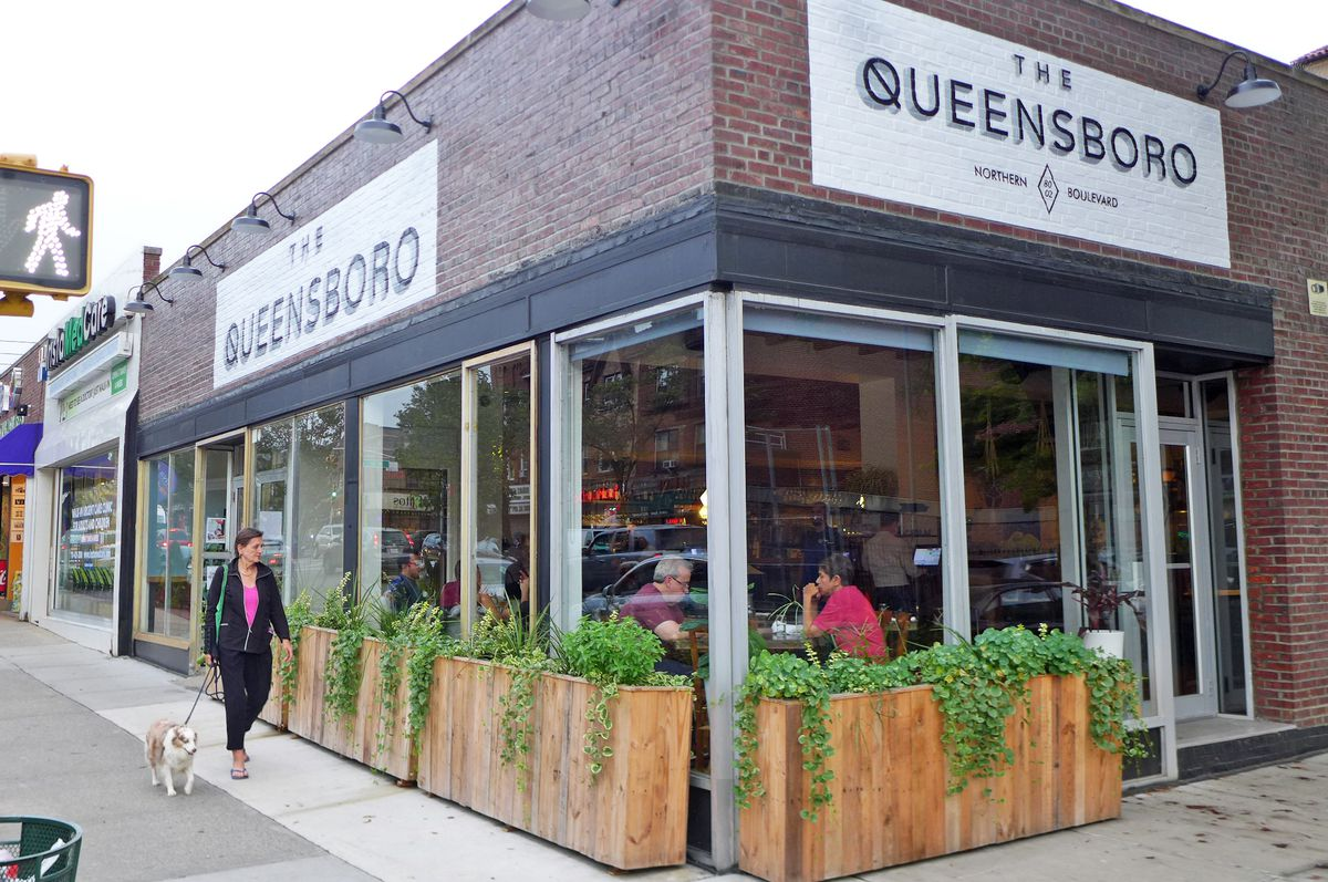 The facade of the Queensboro stands out in Jackson Heights