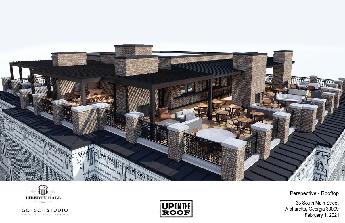 Aerial view rendering of the dining area at Up on the Roof in alphareta, GA