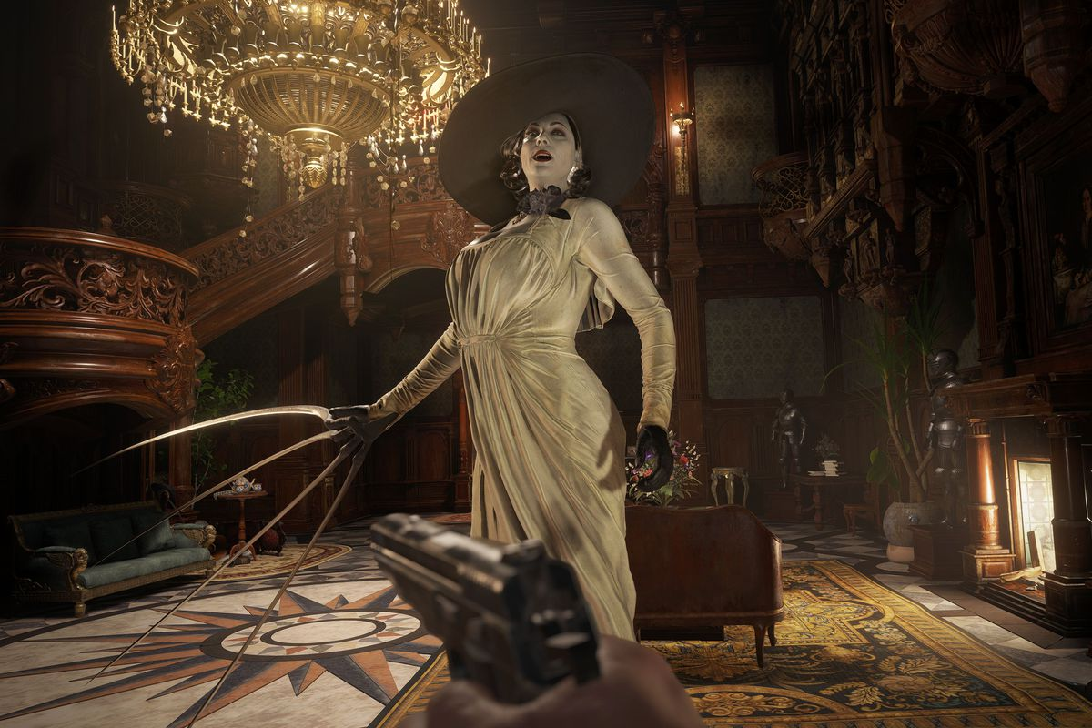 The big vampire Lady Dimitrescu prepares to attack Ethan Winters in Resident Evil Village.