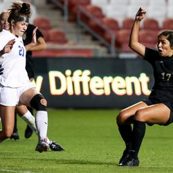 Davis' Alizabeth Arevalo unsuccessfully shoots on Pleasant Grove goalkeeper Kam Willoughby in a 6A girls soccer semifinal game at Rio Tinto Stadium in Sandy on Tuesday, Oct. 20, 2020.