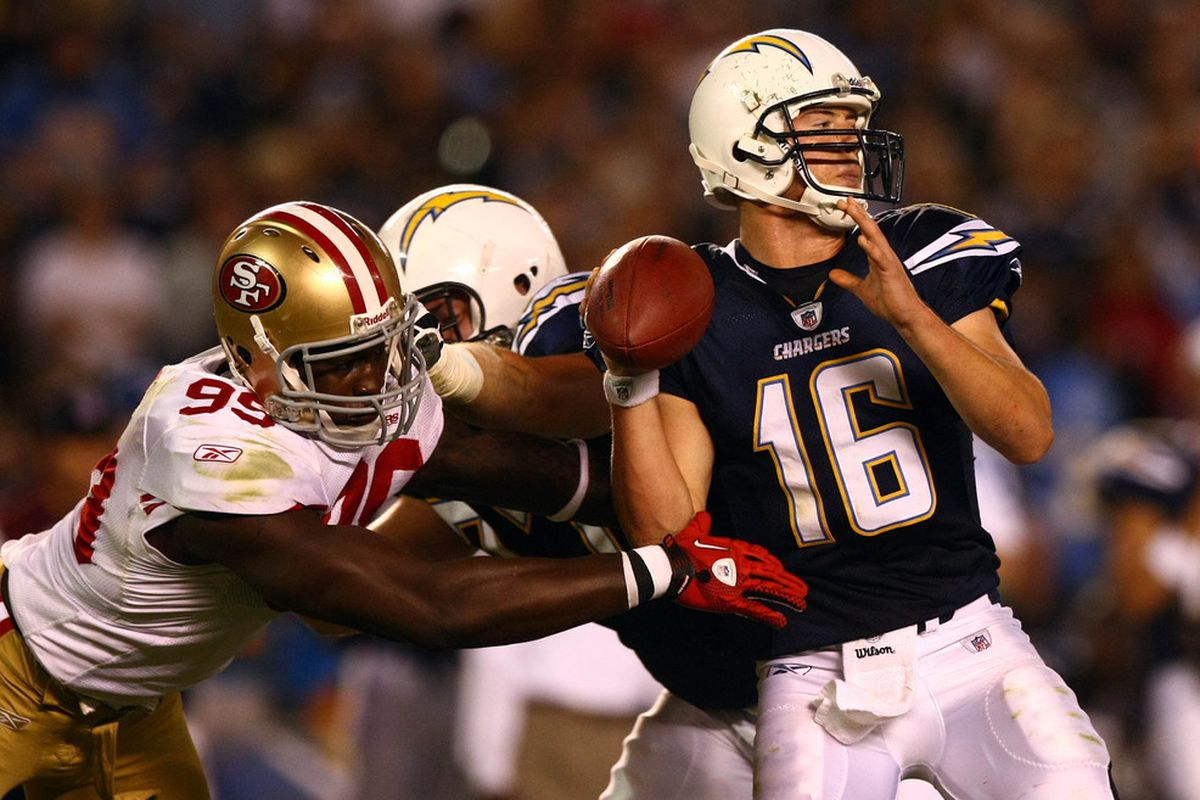 Quarterback Scott Tolzien #16 of the San Diego Chargers throws with pressure against the San Francisco 49ers during their preseason NFL Game. (Photo by Donald Miralle/Getty Images)
