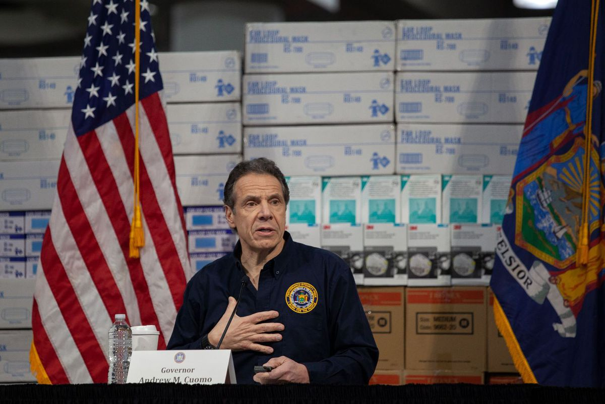 Gov. Andrew Cuomo speaks about getting medical supplies to combat the coronavirus during a press conference at the Jacob Javits Center.