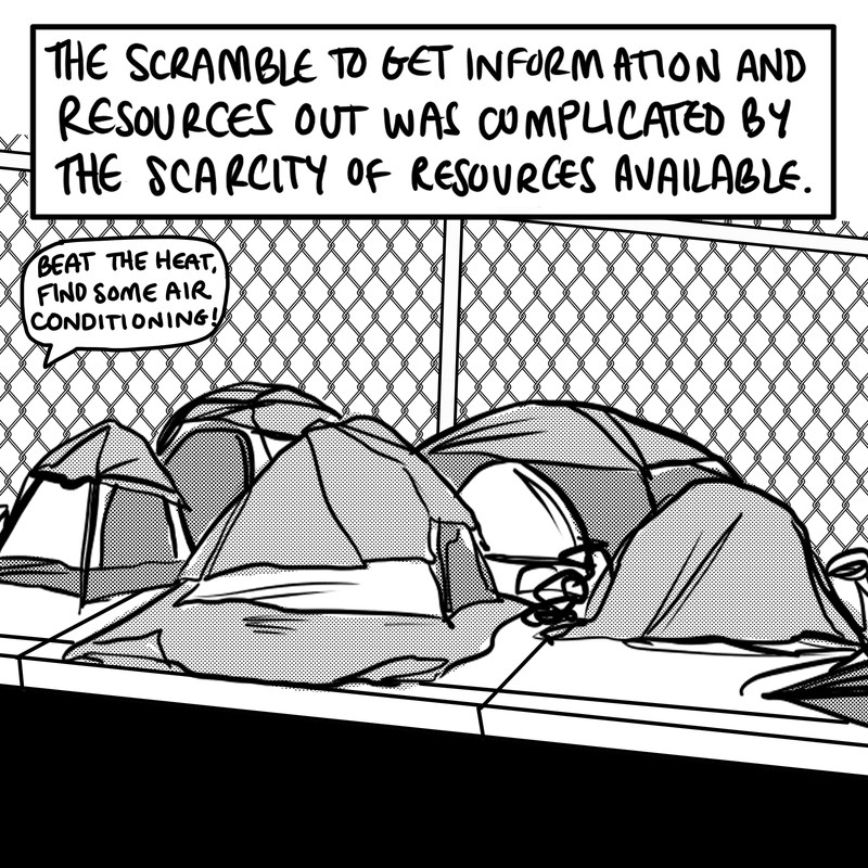 """A collection of tents covered in tarps with miscellaneous piles scattered around and a chain-link fence in the background. Text: """"The scramble to get information and resources out was complicated by the scarcity of resources available."""""""
