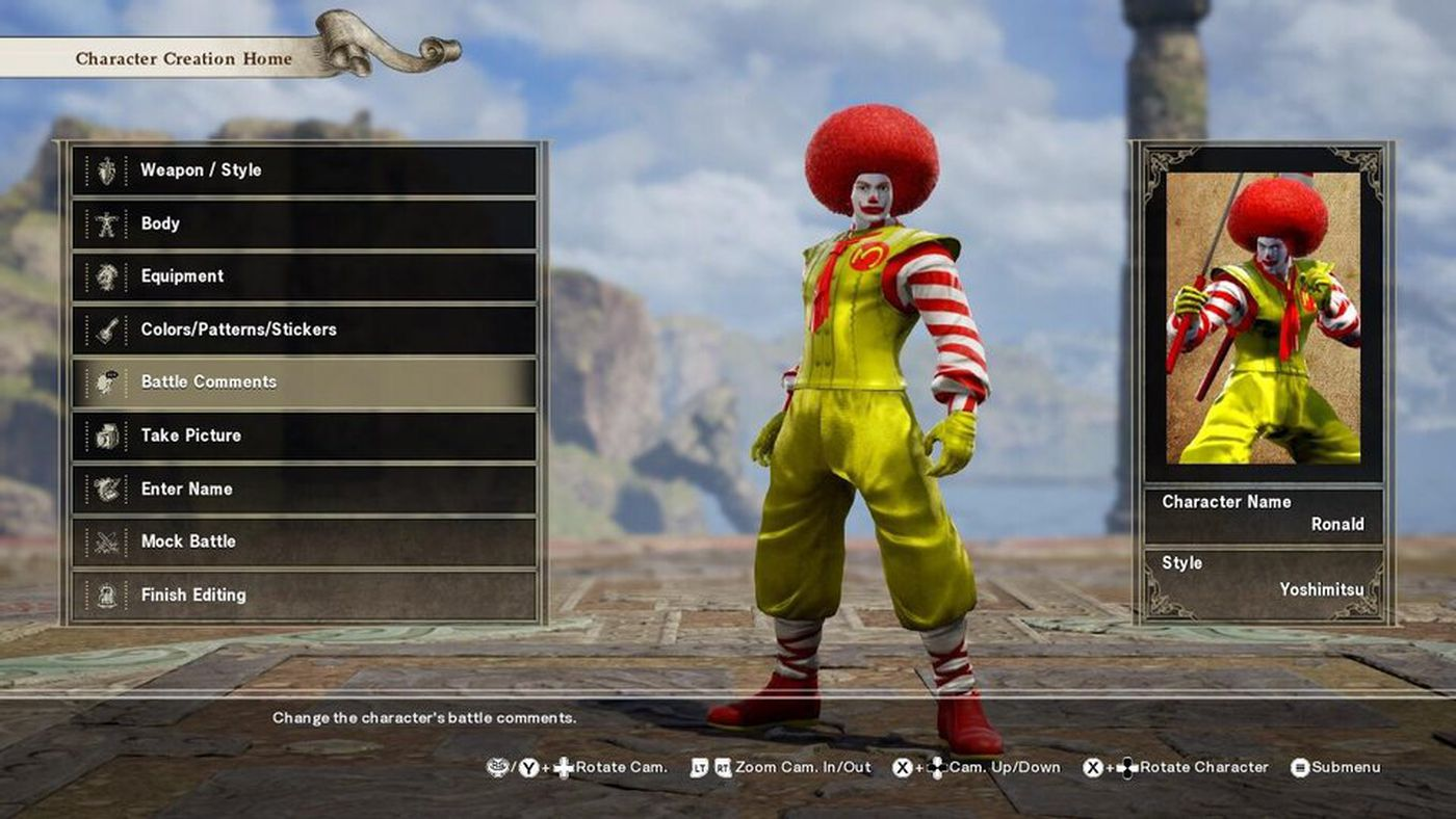 fans go to town with soulcalibur 6 s fighter creation tools polygon