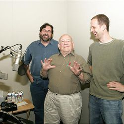 Co-director Bob Peterson, left, actor Ed Asner and director Pete Docter at work.
