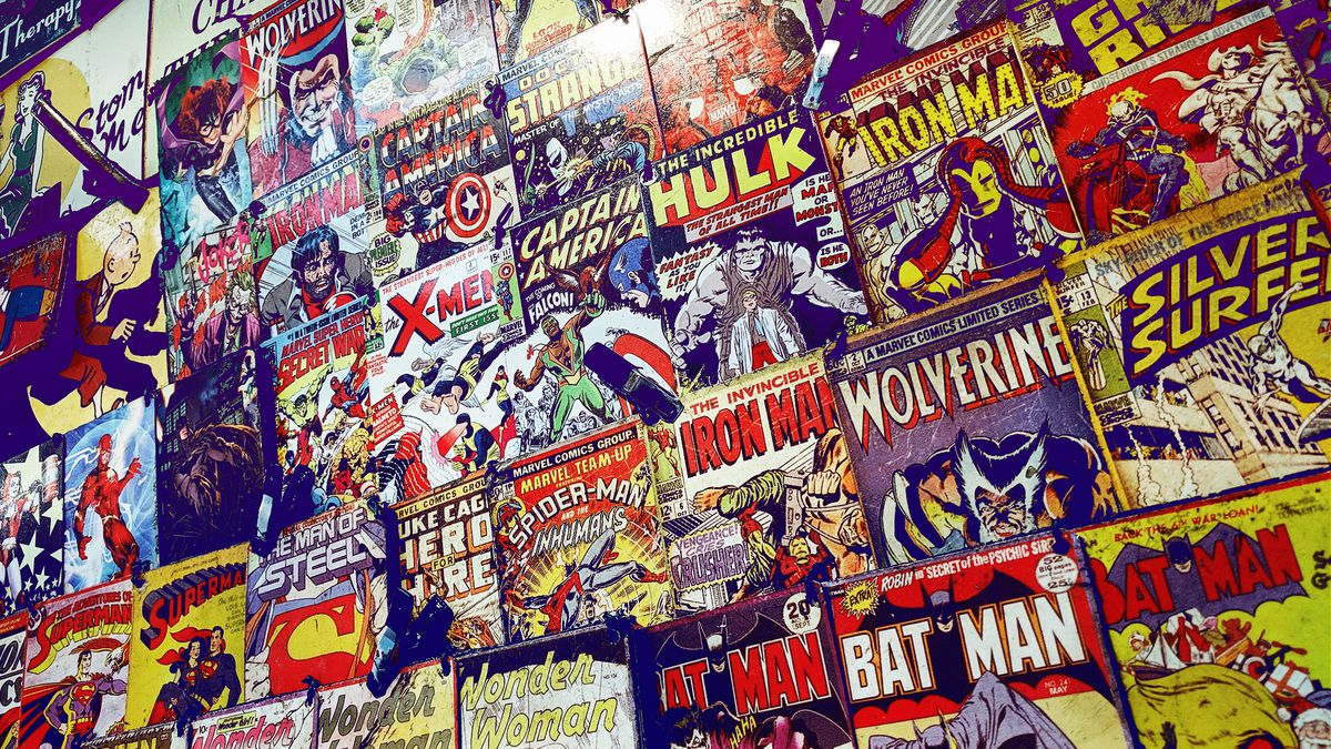 A wall of comics in a comic book store
