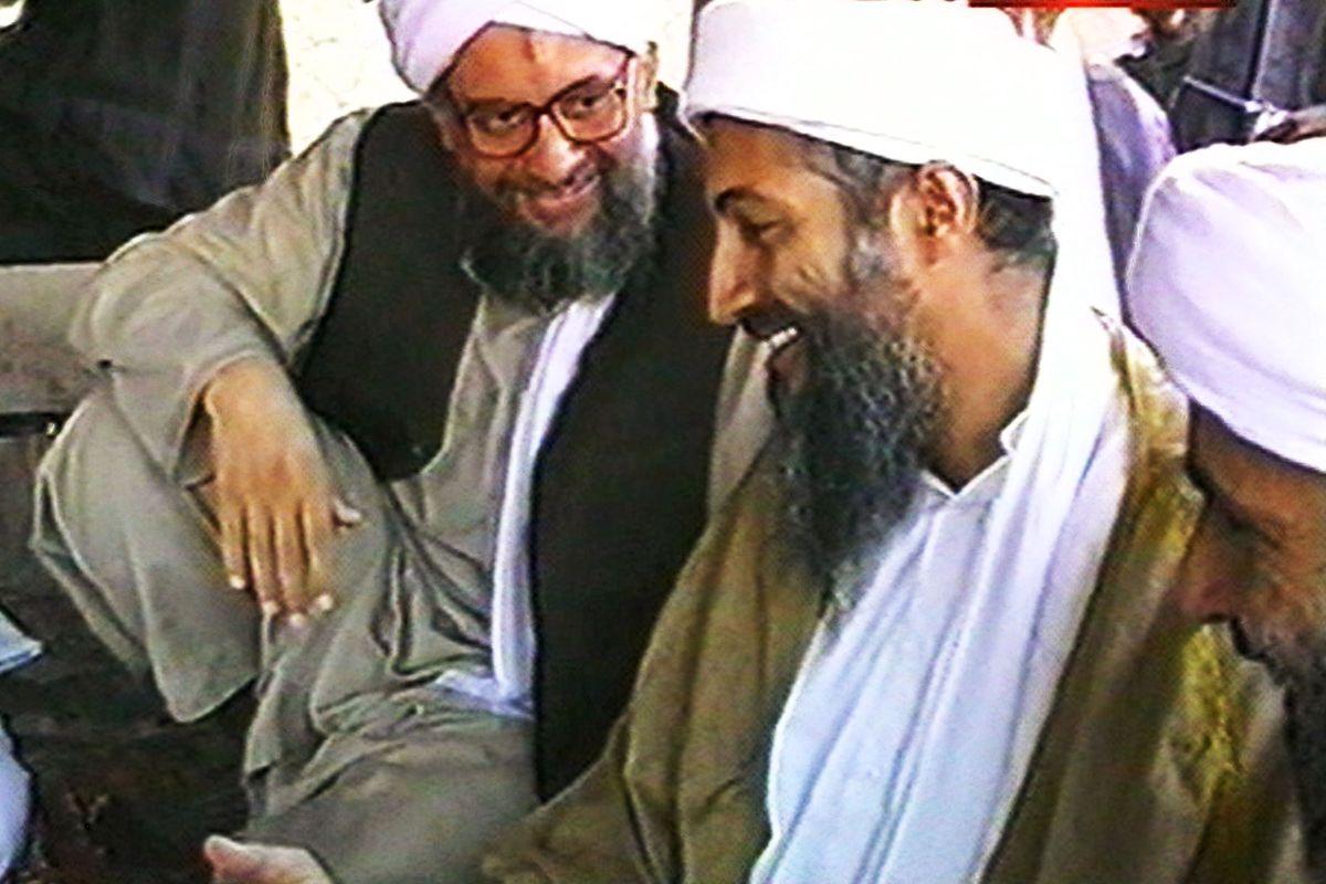 1998 CNN still of Osama bin Laden, right, along with Egyptian jihadist Ayman al-Zawahiri in Afghanistan