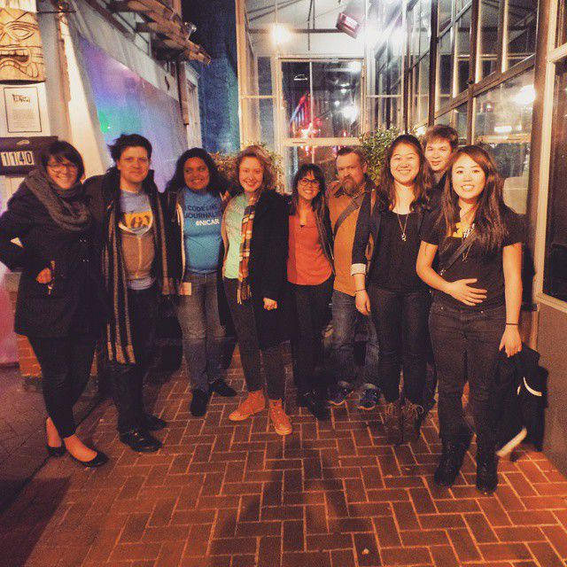 Vox Media OpenNews fellow Kavya Sukumar and other members of the Vox Product team at NICAR 2015 in Atlanta.