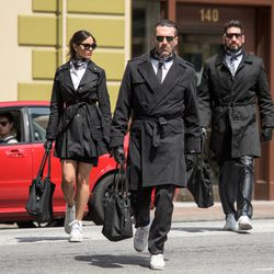 """Baby (Ansel Elgort), Darling (Eiza Gonzalez), Buddy (Jon Hamm) and Griff (Jon Bernthal) are dropped off at the bank in """"Baby Driver."""""""