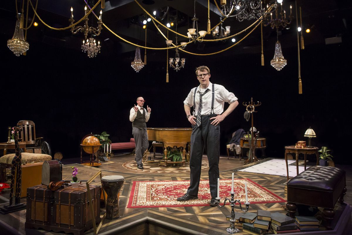 """Jason Grimm (left, as one of 12 """"Suspects"""") and Noel Carey (left, as Marcus the detective) in the Marriott Theatre production of """"Murder for Two. """" 