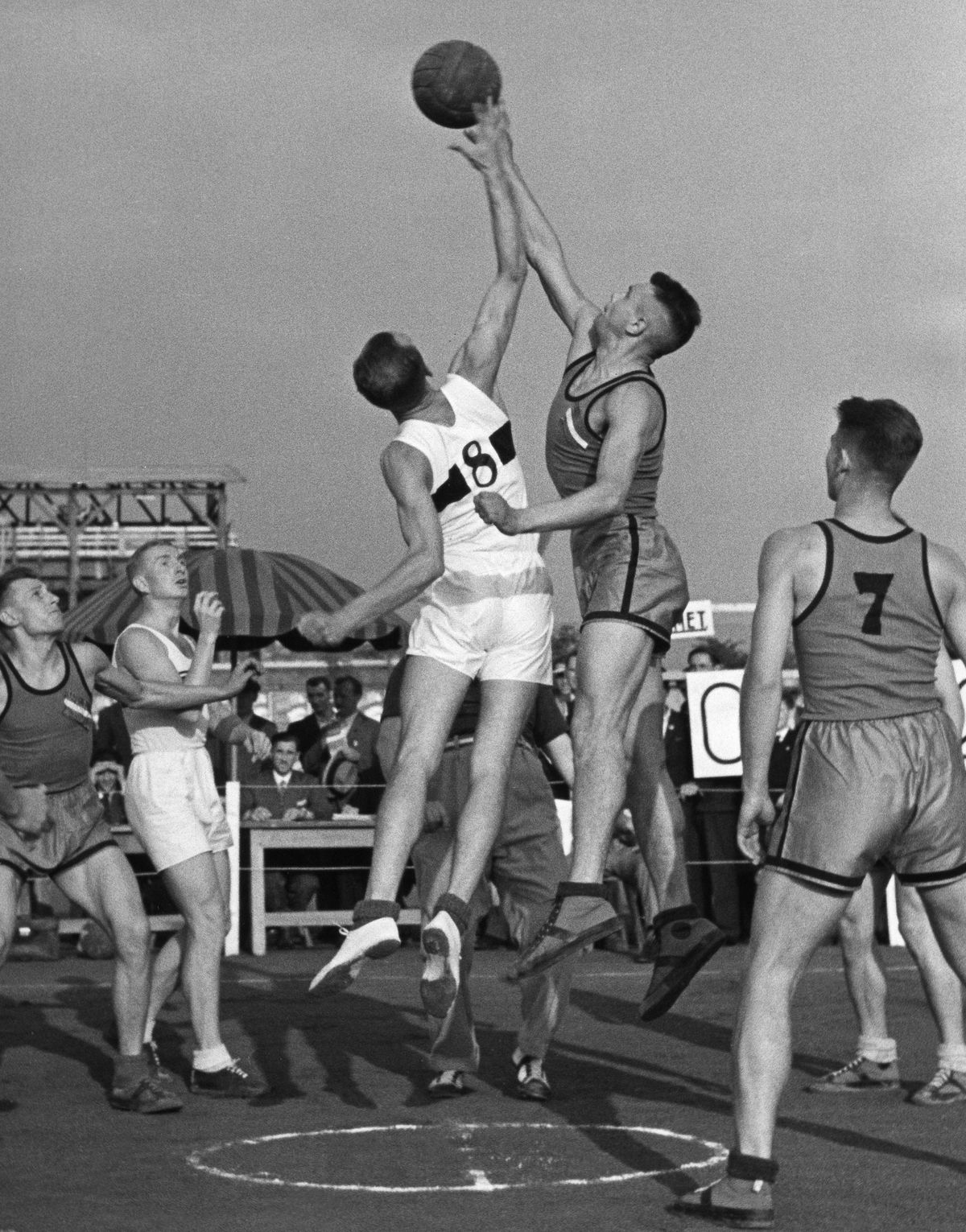 Basketball, scene from a match, probably from the 1936 Olympics