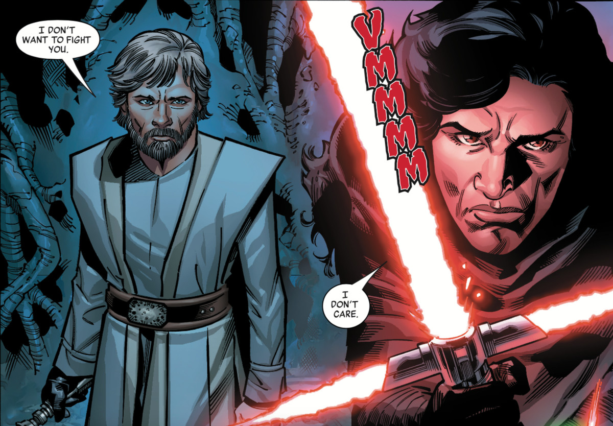 luke skywalker tells kylo he doesn't want to fight, and kylo lights up his cross saber, clearly not having it