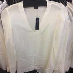 Theory long sleeve white top, $35 (from $235)