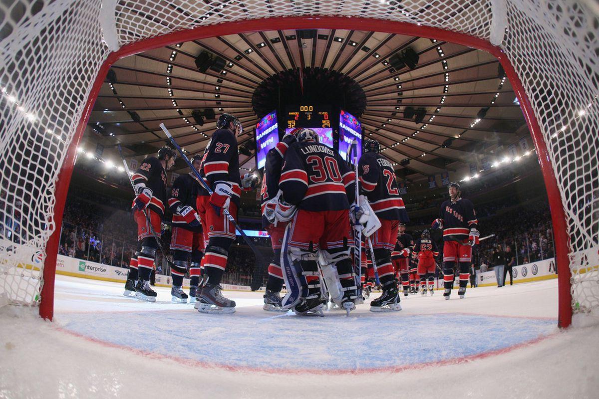 NEW YORK, NY - NOVEMBER 26:  Goaltender Henrik Lundqvist #30 of the New York Rangers celebrates his 2-0 shutout against the Philadelphia Flyers at Madison Square Garden on November 26, 2011 in New York City. (Photo by Bruce Bennett/Getty Images)