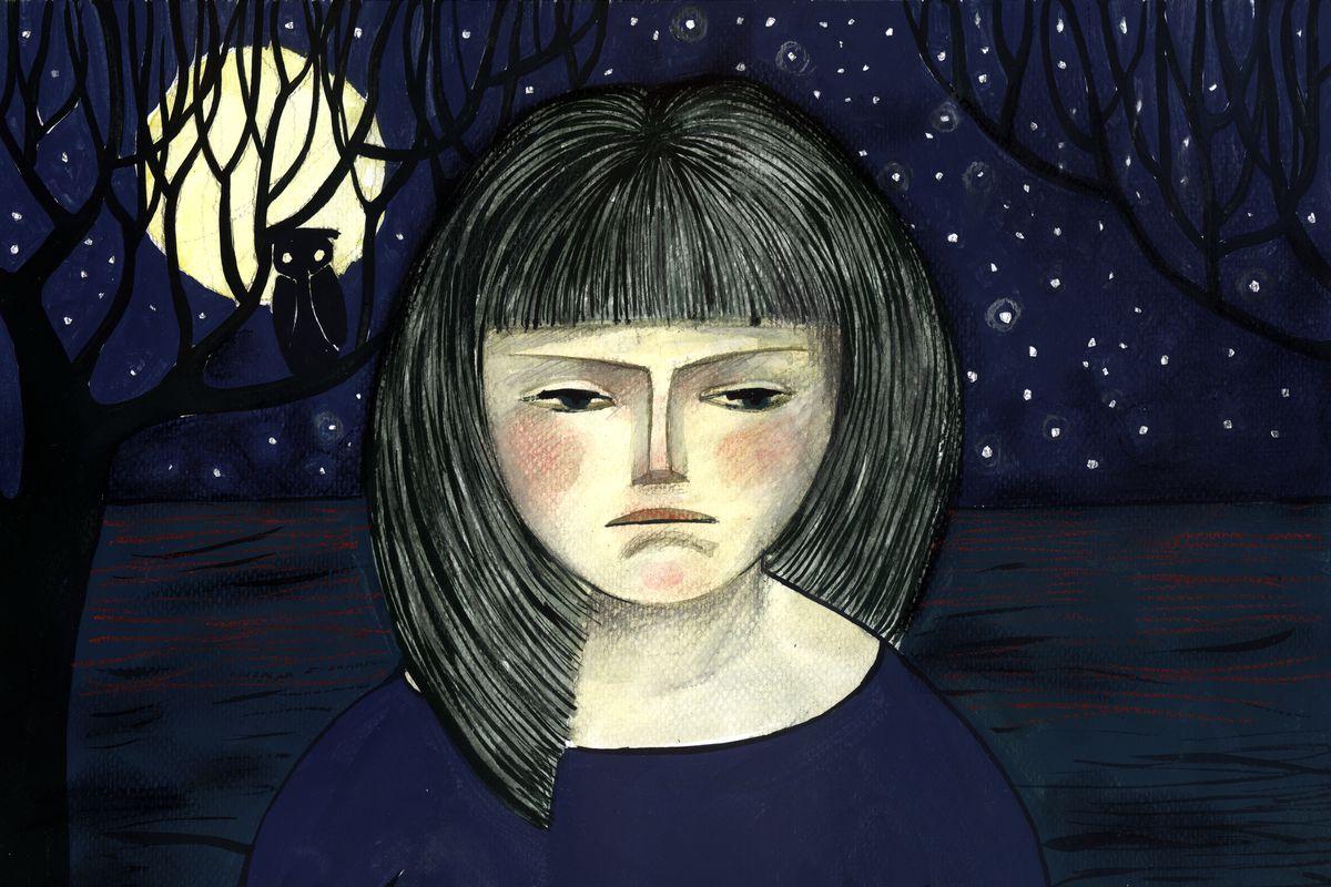 Illustration of a girl at night.
