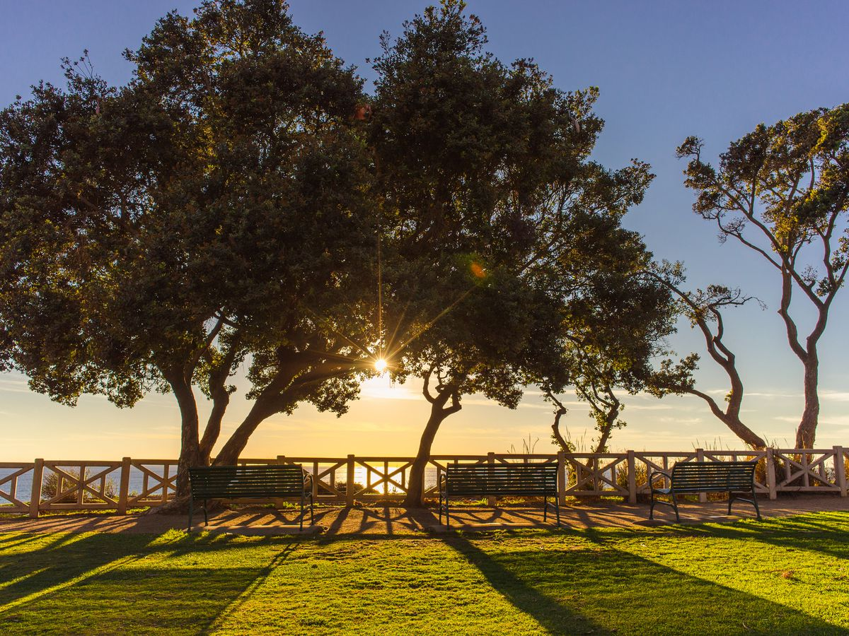 In the foreground is a green lawn with trees and a wooden fence. In the distance is a sunset over the ocean.