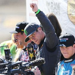 Brian Deegan in the Monster Energy 38 eyes fans after his win in the Pro 2 division in the Lucas Off-Road races in Tooele on Saturday, June 24, 2017.