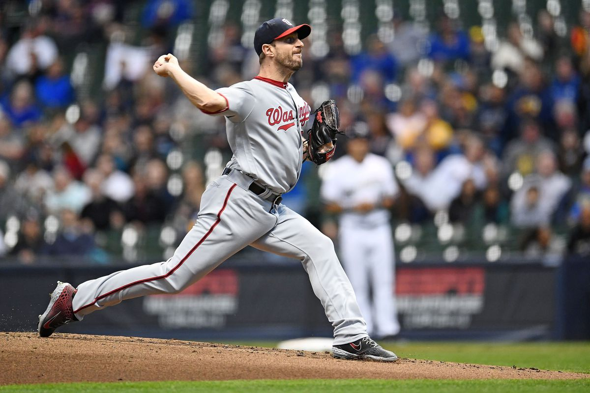 Max Scherzer of the Washington Nationals throws a pitch during a game against the Milwaukee Brewers at Miller Park on May 06, 2019 in Milwaukee, Wisconsin.