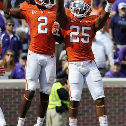 Clemson's Sammy Watkins (2) celebrates with Roderick McDowell (25) after scoring a touchdown in the second quarter of an NCAA college football game against Furman, Saturday, Sept. 15, 2012, in Clemson, S.C.