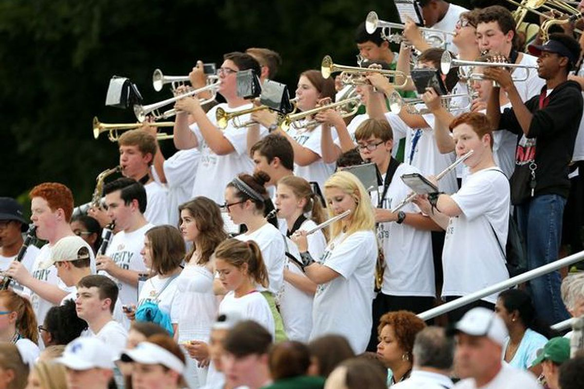 The Briarcrest High School band at a 2016 football game against St. George's.
