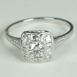 """18kt white gold <a href=""""http://www.greenhilljewelers.com/servlet/Detail?no=293"""">diamond ring</a> from the Art Deco period, $1,950 at Greenhill Jewelers."""