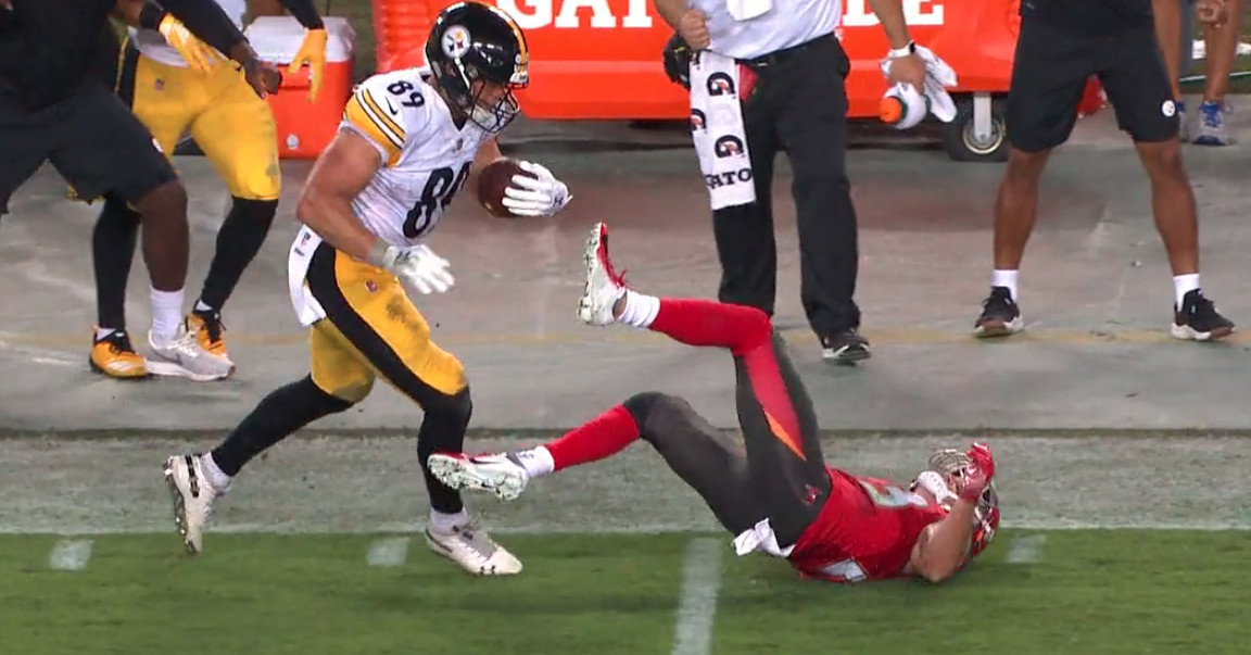 Please watch the most beautiful stiff arm we've ever seen on 'Monday Night Football'