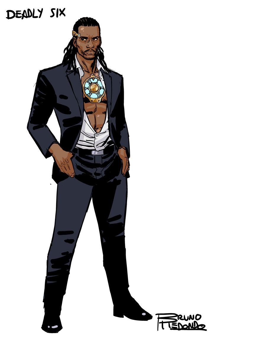 Deadly Six wears a suit with an open shirt and a large medallion, from DC Comics' 2019 Suicide Squad series.