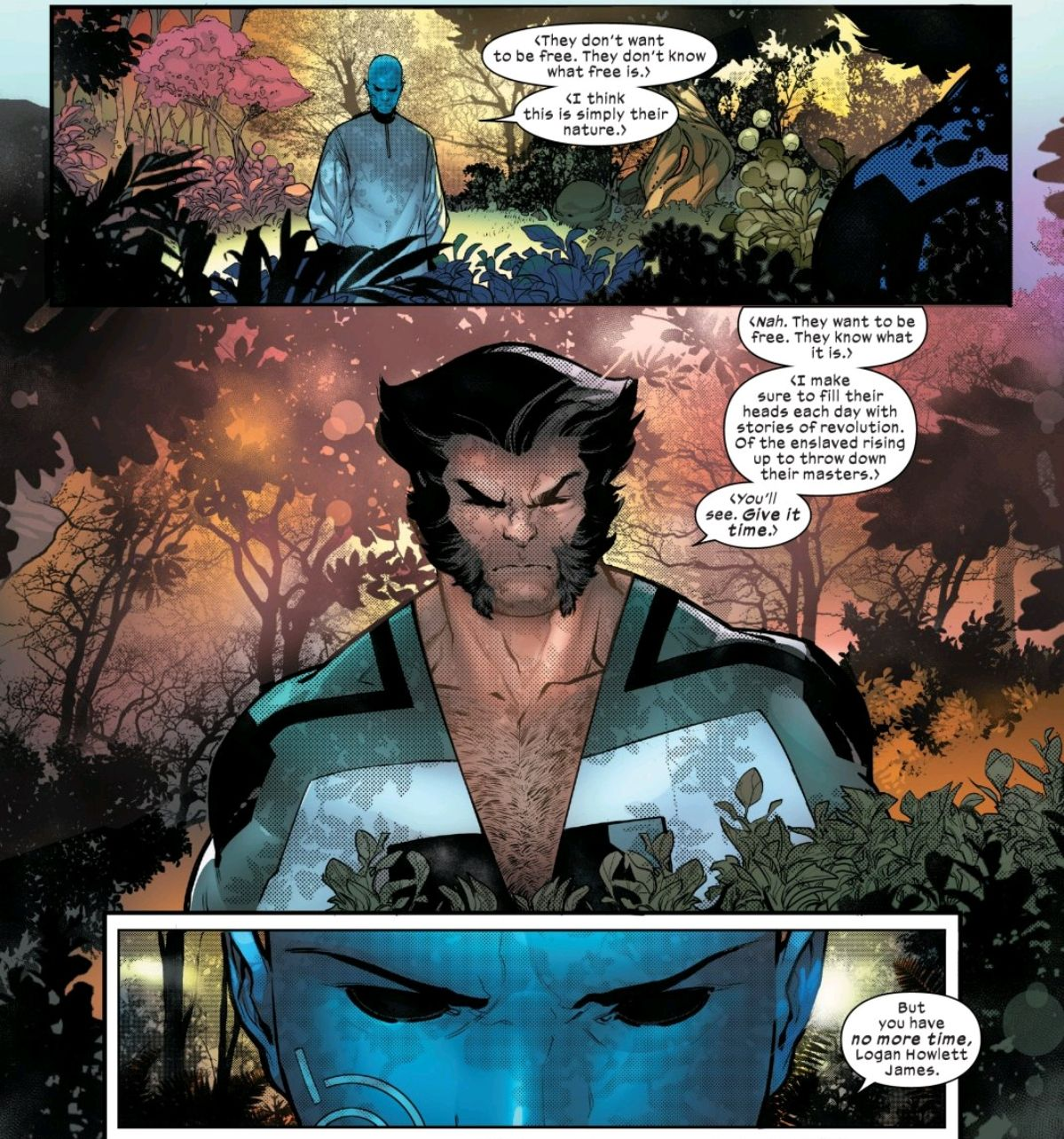 Wolverine/Logan and the Librarian talk in the garden/zoo in Powers of X #6, Marvel Comics (2019).