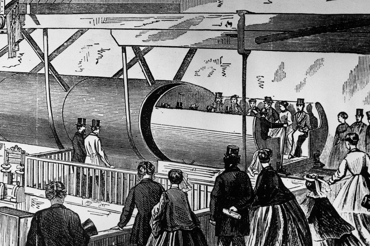 A pneumatic tube demonstration in 1867.