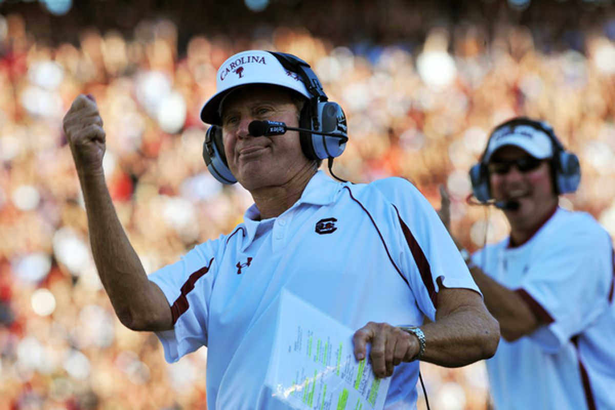 COLUMBIA, SC - OCTOBER 9: Coach Steve Spurrier of the South Carolina Gamecocks cheers a touchdown against the Alabama Crimson Tide October 9, 2010 at Williams-Brice Stadium in Columbia, South Carolina.  (Photo by Al Messerschmidt/Getty Images)
