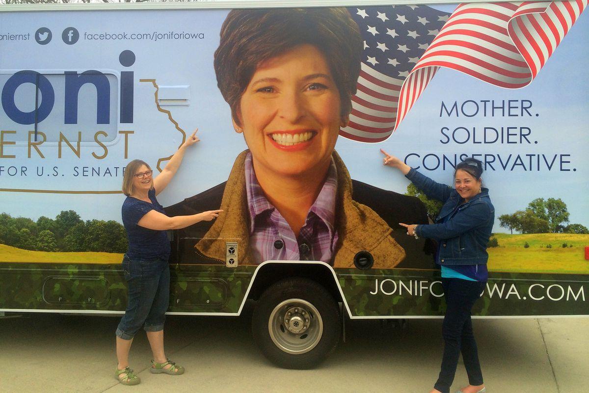 The campaign bus of Iowa GOP Senate candidate, Joni Ernst