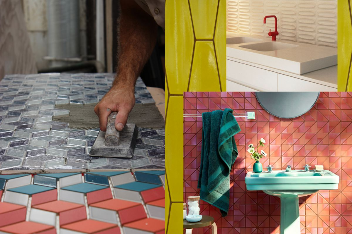 A collage of rooms with tiled surfaces, including a bathroom with pink and orange tile, a kitchen with white dimensional tile, and an installer working with blue and orange tile