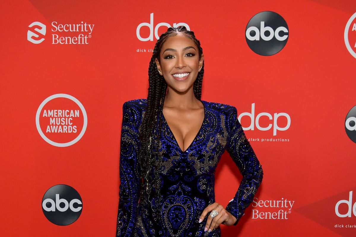 In this image released on November 22, Tayshia Adams attends the 2020 American Music Awards at Microsoft Theater on November 22, 2020 in Los Angeles, California.