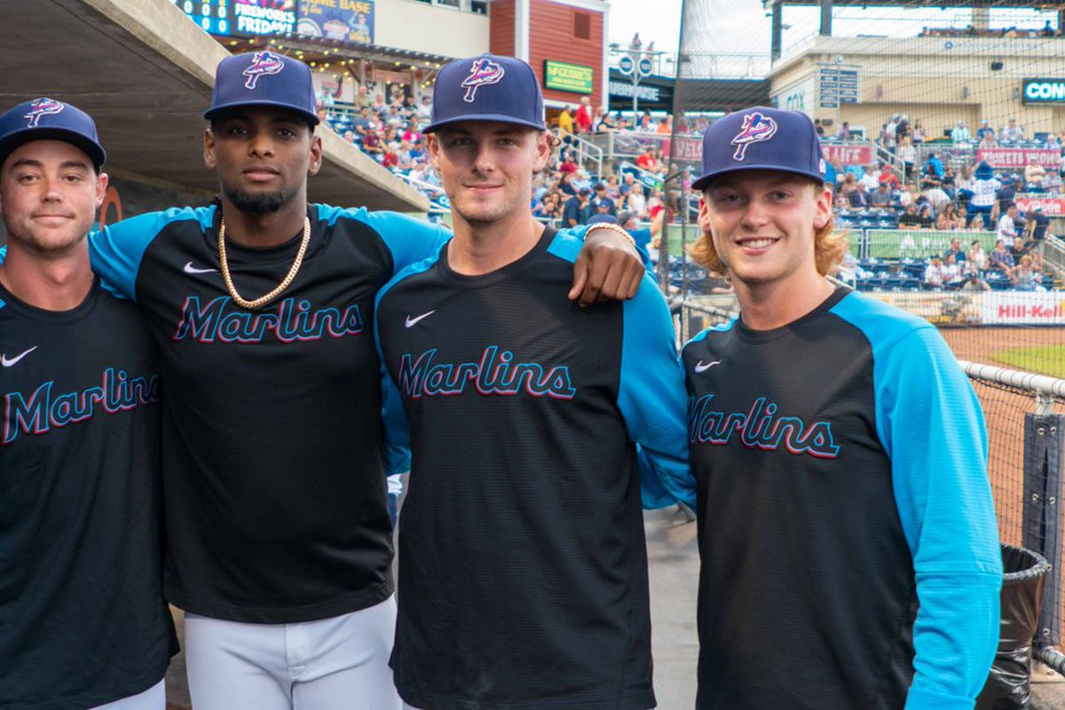Marlins pitching prospects (from left to right) Will Stewart, Edward Cabrera, Jake Eder and Max Meyer with the Pensacola Blue Wahoos