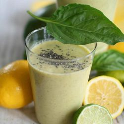 In this March 14, 2012 photo, basil mango lime smoothies made with chia are shown in Concord, N. H.  After decades adorning everything from a zoo-worthy collection of clay critters to presidential busts, ch-ch-ch-chia seeds finally are ready to ditch the kitsch.