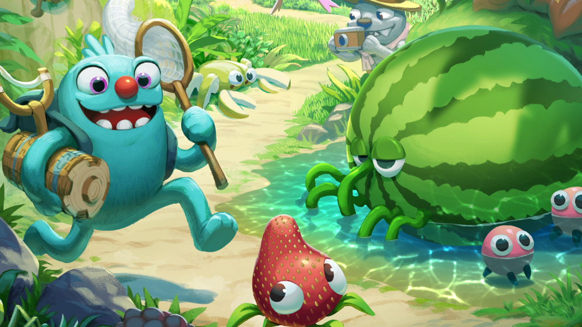 Filbo chases a strabby in key art for Bugsnax, by Young Horses.