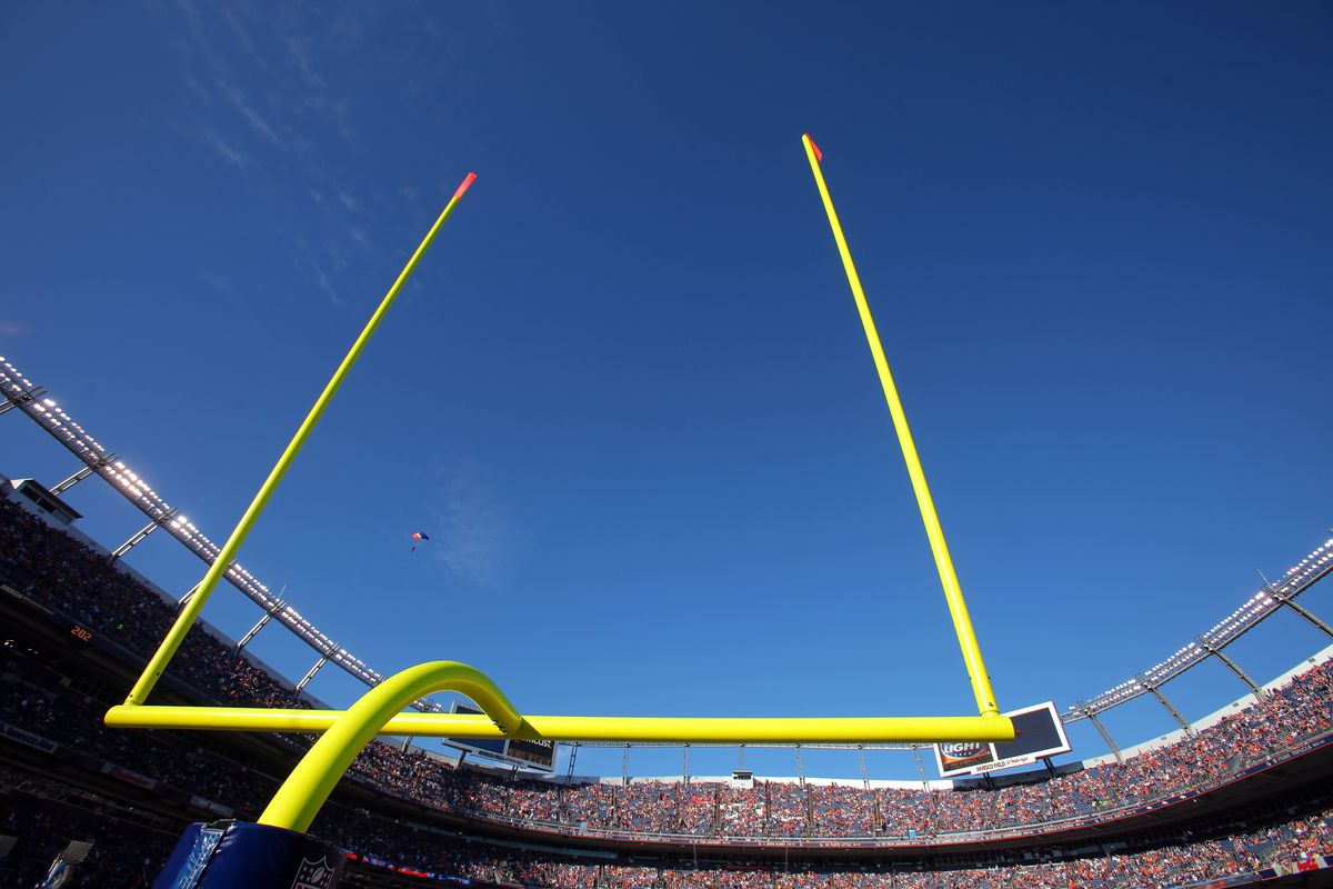 A general view of the goal post against the blue sky as the Denver Broncos host the San Diego Chargers during NFL action at Invesco Field at Mile High on November 22, 2009 in Denver, Colorado. The Chargers defeated the Broncos 32-3.