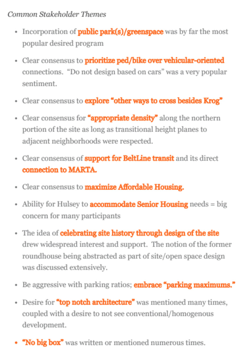 """A list of """"common stakeholder themes"""" from the report."""