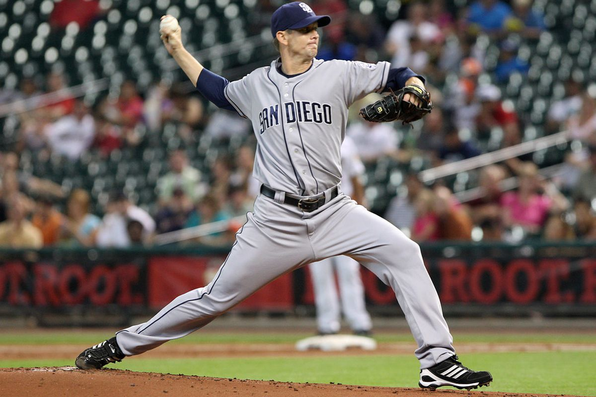 June 26, 2012; Houston, TX, USA; San Diego Padres starting pitcher Kip Wells (60) pitches in the first inning against the Houston Astros at Minute Maid Park. Mandatory Credit: Troy Taormina-US PRESSWIRE