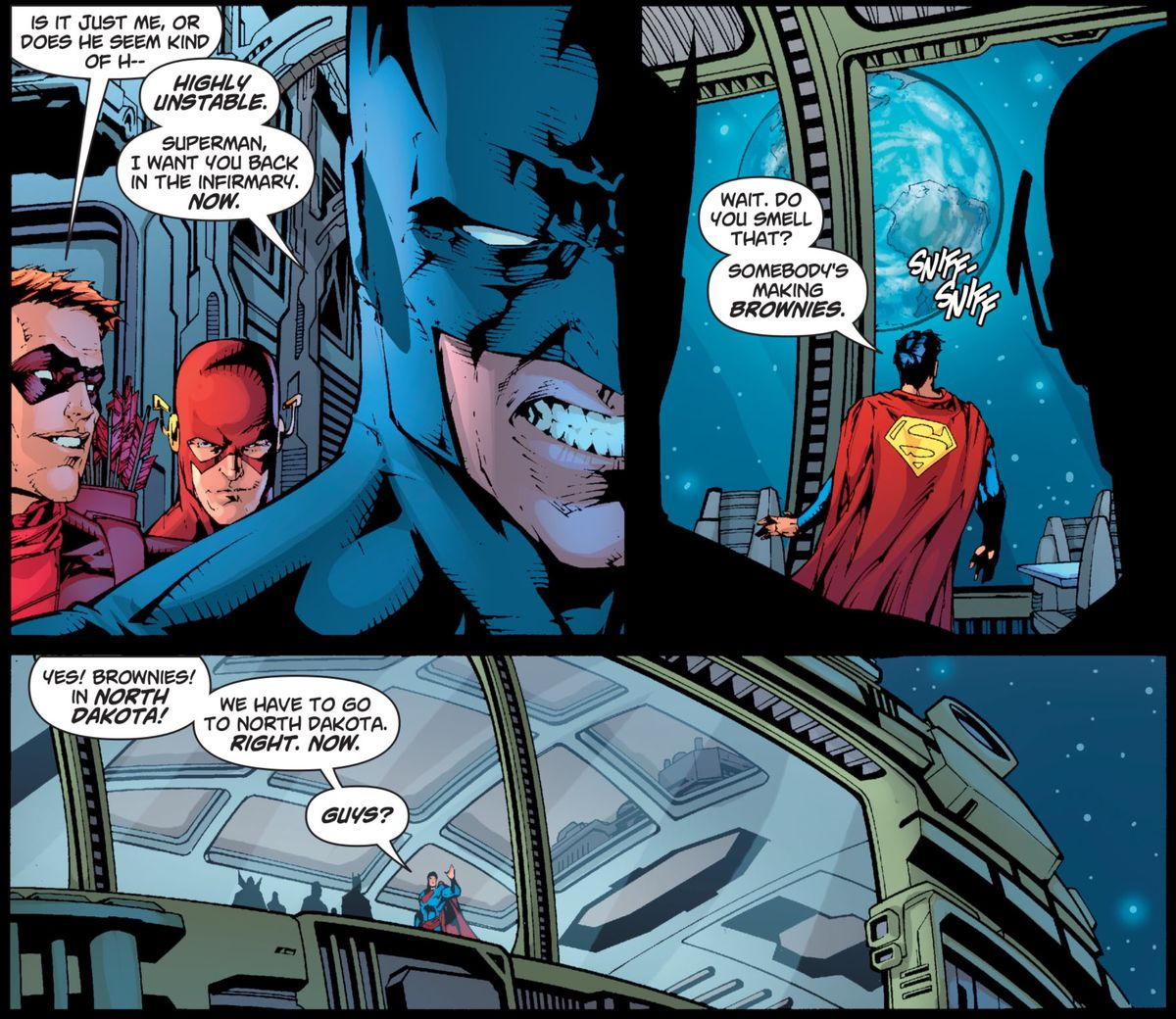 Superman becomes distracted when he senses that someone in North Dakota is making brownies, in Superman/Batman # 46, DC Comics (2008).