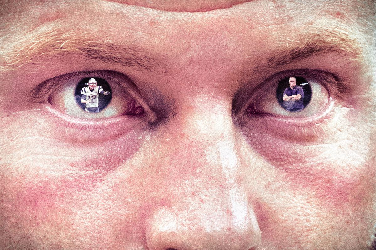 A photo illustration of Tom Brady and Bill Belichick in Sean McVay's eyes