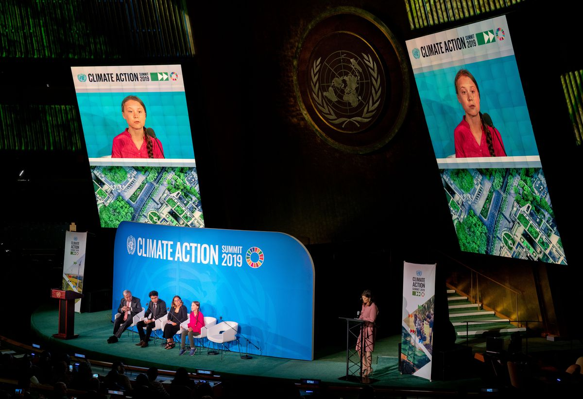 Greta Thunberg, climate activist and initiator of the environmental movement Fridays for Future, speaks at the UN Climate Action Summit in New York City.