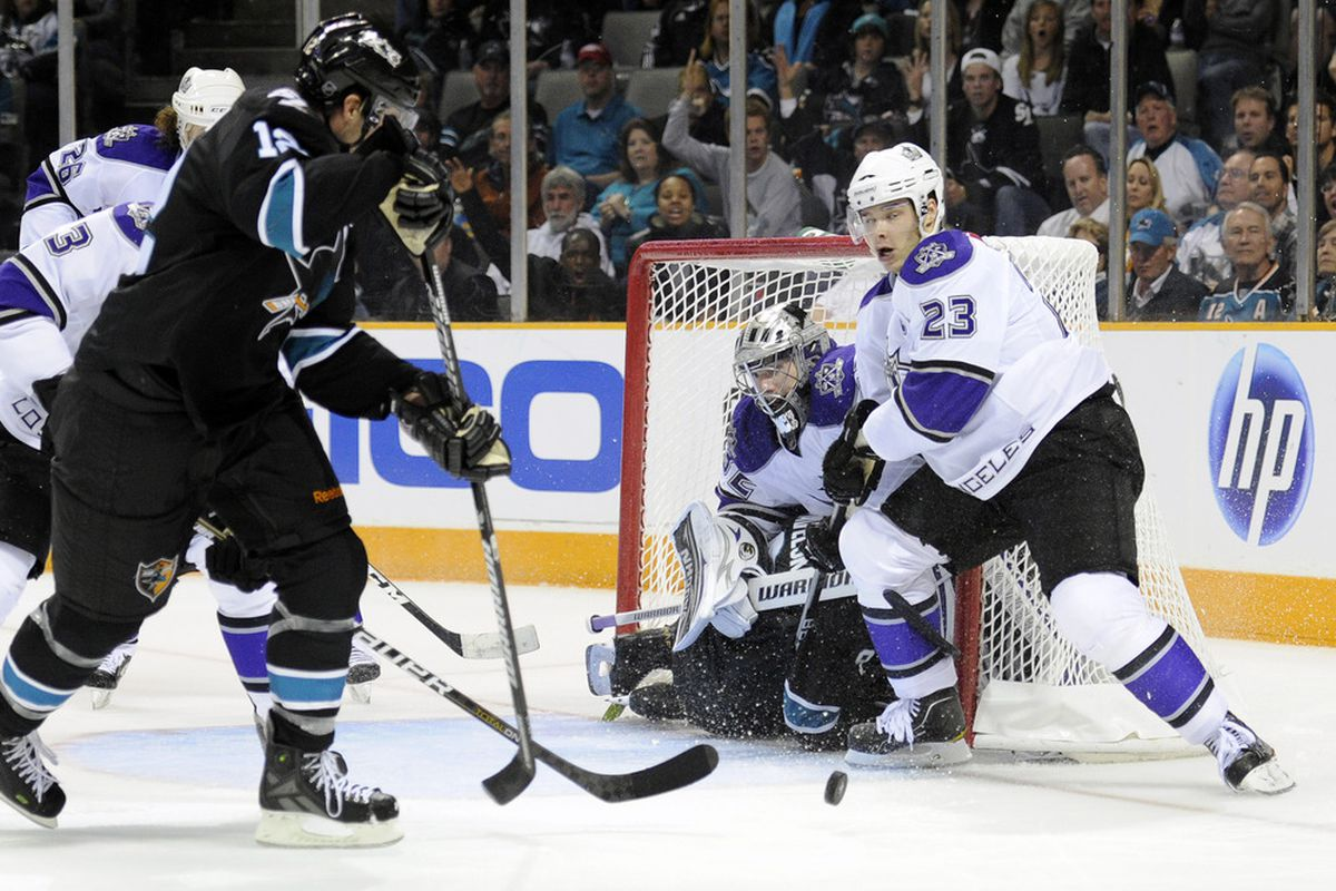 Here's Dustin Brown, caught right before he shoots an egg at Patrick Marleau. (Photo by Thearon W. Henderson/Getty Images)