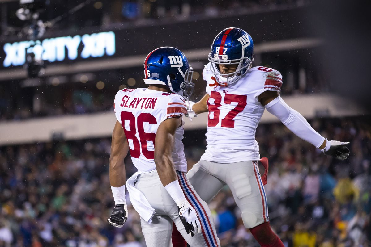 Darius Slayton #86 of the New York Giants celebrates a touchdown reception with Sterling Shepard #87 during the second quarter against the Philadelphia Eagles at Lincoln Financial Field on December 9, 2019 in Philadelphia, Pennsylvania.