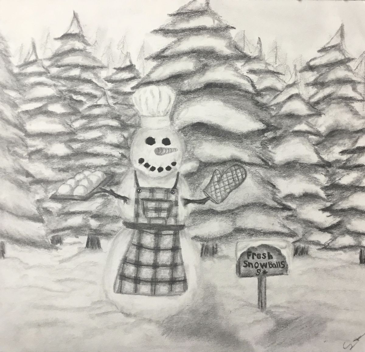 A snow chef by Caeley D., 16, a sophomore at Lincoln-Way West High School in New Lenox.