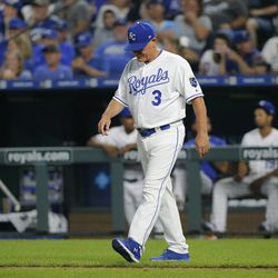 SEPTEMBER 14: Manager Ned Yost #3 of the Kansas City Royals walks out to relieve starting pitcher Mike Montgomery in the sixth inning against the Houston Astros at Kauffman Stadium on September 14, 2019 in Kansas City, Missouri.